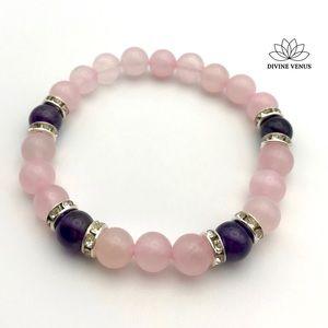 Amethyst & Rose Quartz Stretch Bracelet